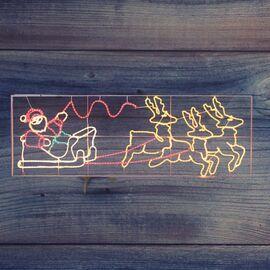 Панно световое (0.88x2.66 м) Олени везут Санта Клауса NN-501 501-311   интернет-магазин SHOWROOMS